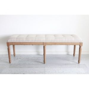 Oak Buttoned Bench Seat