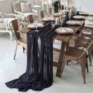 Gathered Table Runner (Charcoal)