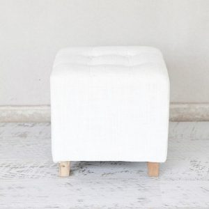 Linen Cube Ottoman
