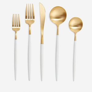 Gold And White Cutlery