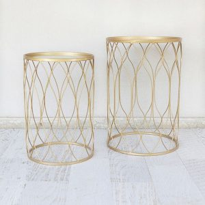Gold Wire Side Table Set