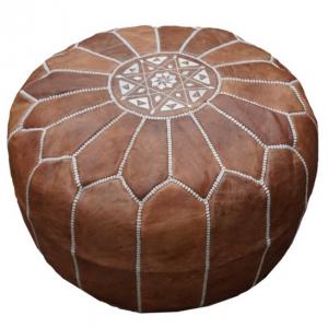 Morroccan Leather Ottoman – Tan